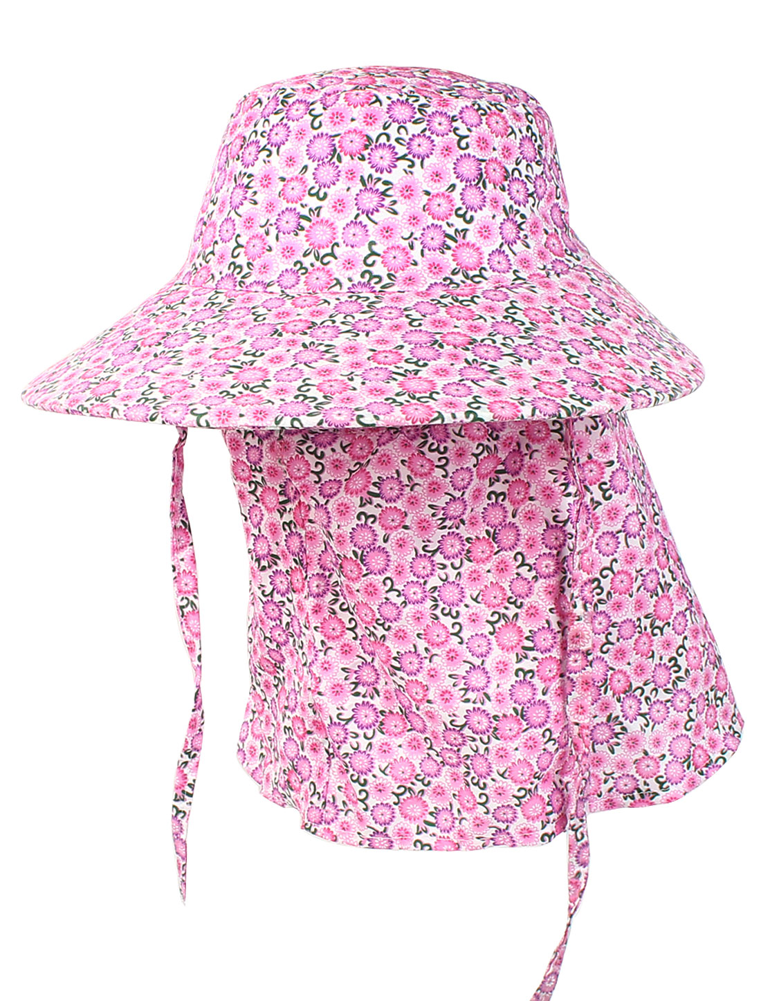 Ladies Outdoor Neck Strap Flower Print Bucket Style Hat Cap Pink