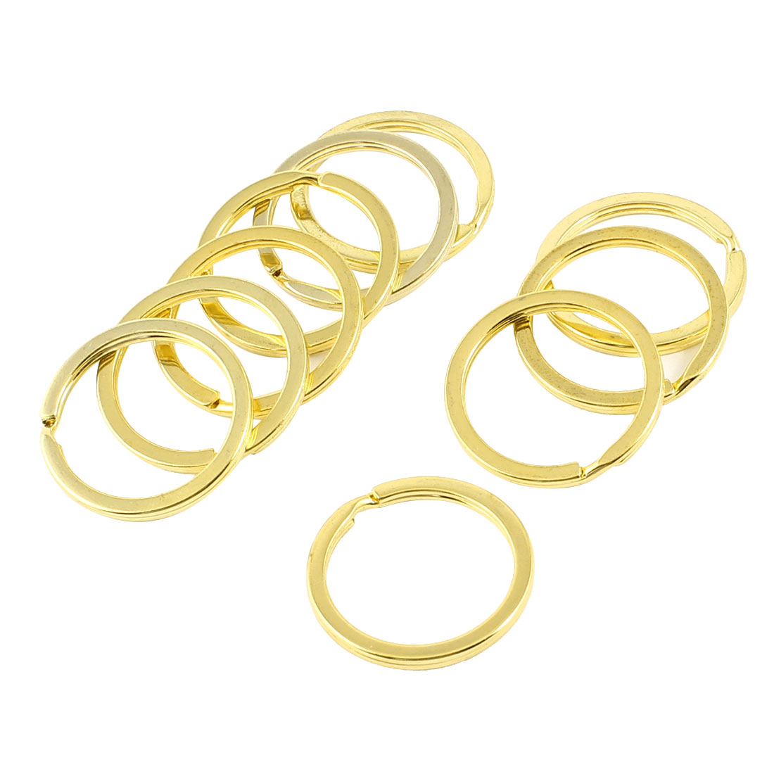 10 Pcs Gold Tone 30mm Diameter Split Rings Key Holder Keyring