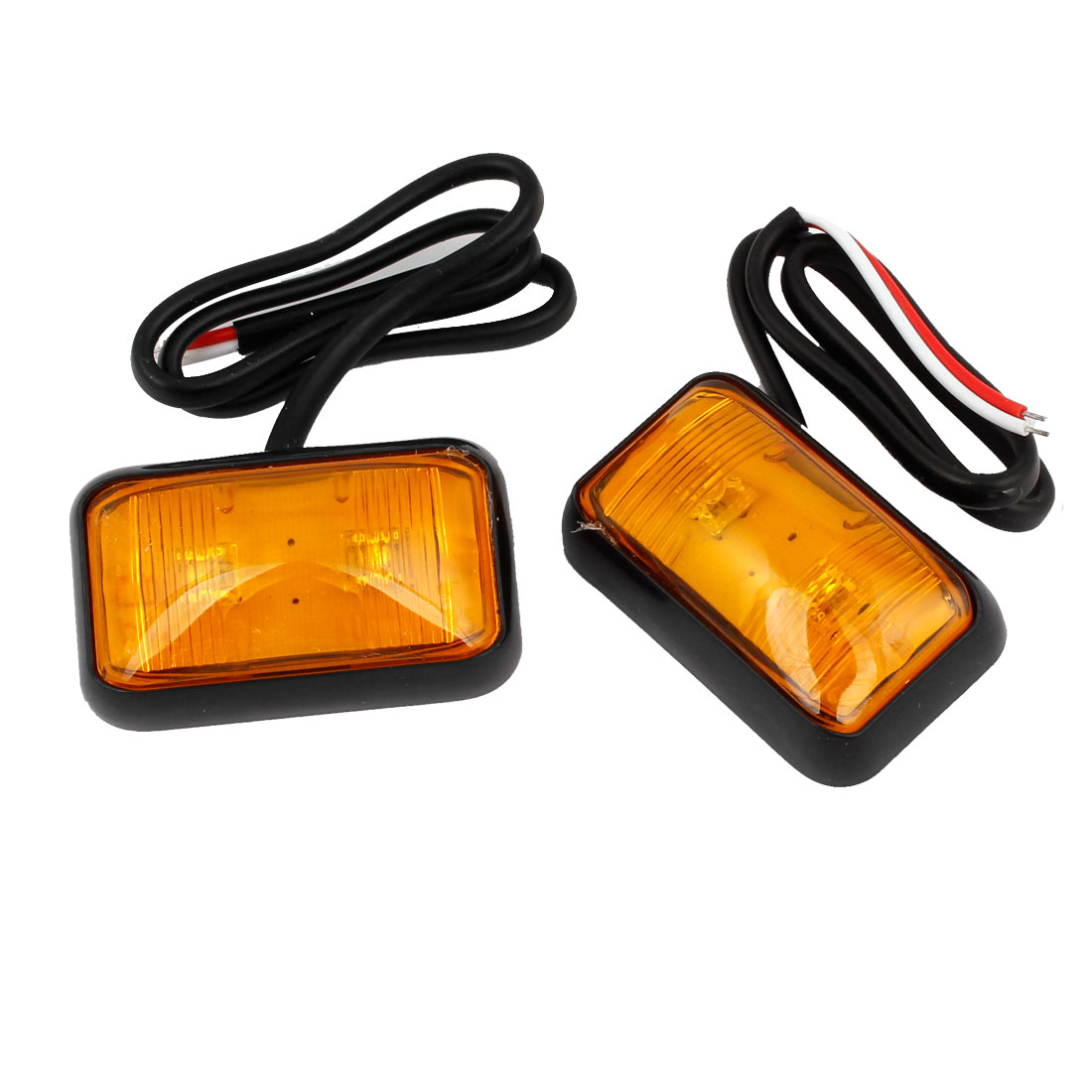 2 Pcs 2 LED Traffic Emergency Hazard Caution Light Side Marker Lamp Yellow internal