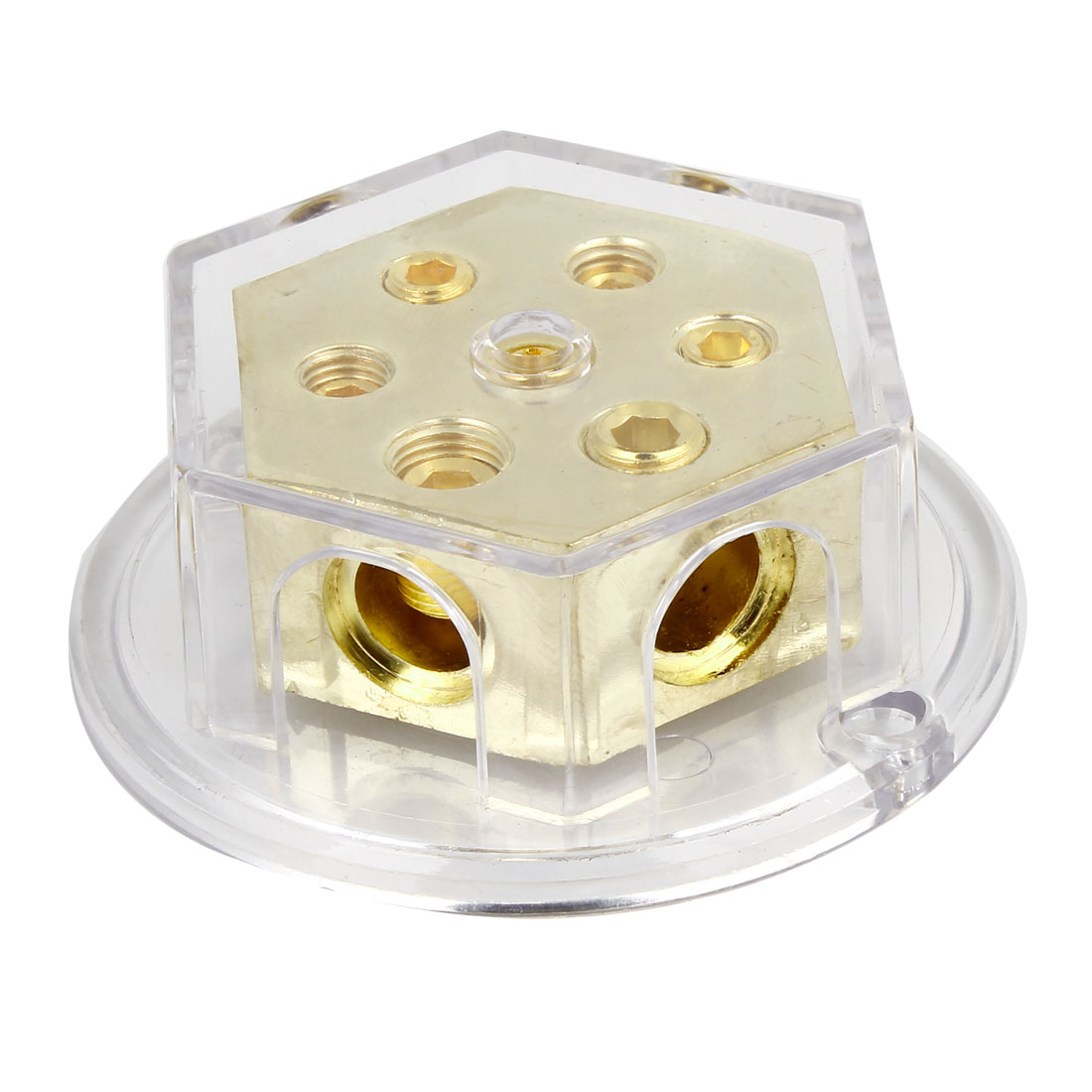 Gold Tone Clear Shell Auto Audio Amplifier 1 in 5 Power Distributor Block Fuse Holder