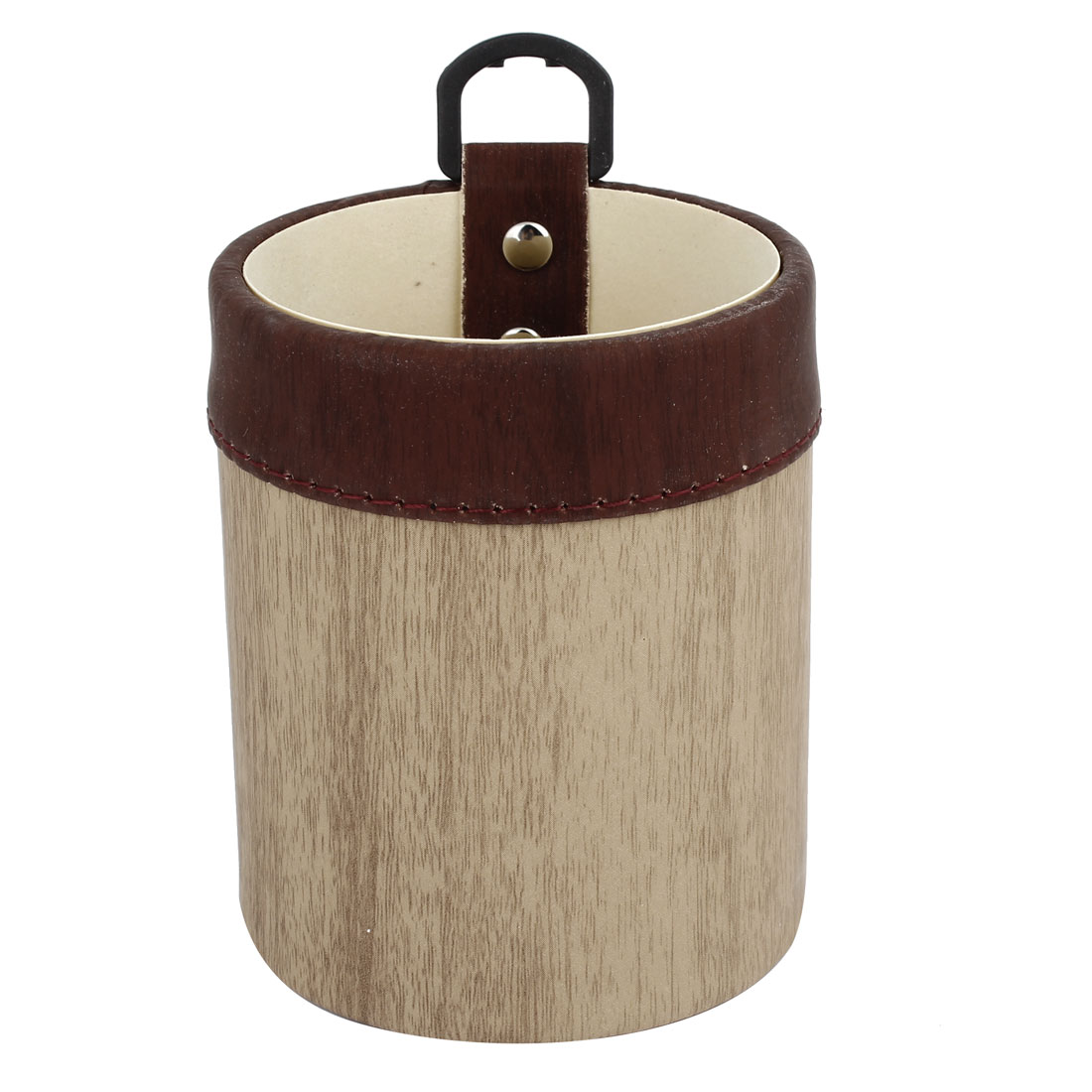 Khaki Brown Faux Leather Wood Grain Pattern Bottle Drink Can Holder w Clip for Auto Car Air Vent