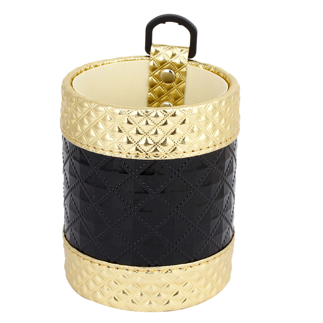 Car Black Gold Tone Cylinder Shaped Rhombus Pattern Phone MP4 Pouch Case Holder