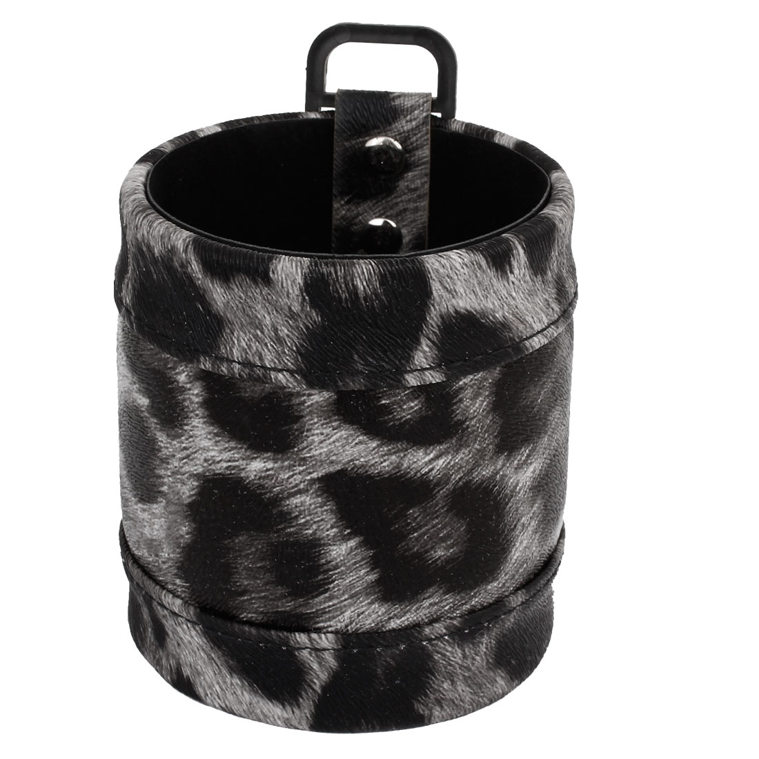 Gray Leopard Pattern Faux Leather Key Phone Storage Bag for Car Air Vent