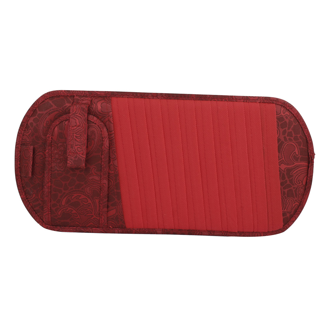 Red Nylon Retangle Shape Flower Pattern Sun Visor 10 Slots DVD VCD CD Storage Holder Card Case for Car