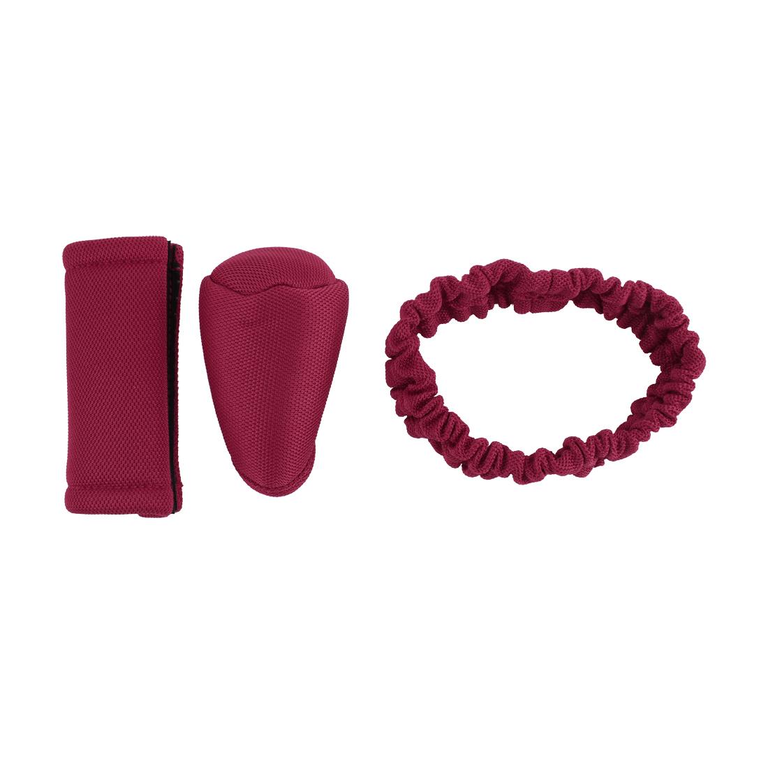 3 in 1 Car Hook Loop Closure Gear Knob Hand Brake Handbrake Mirror Cover Red Sets