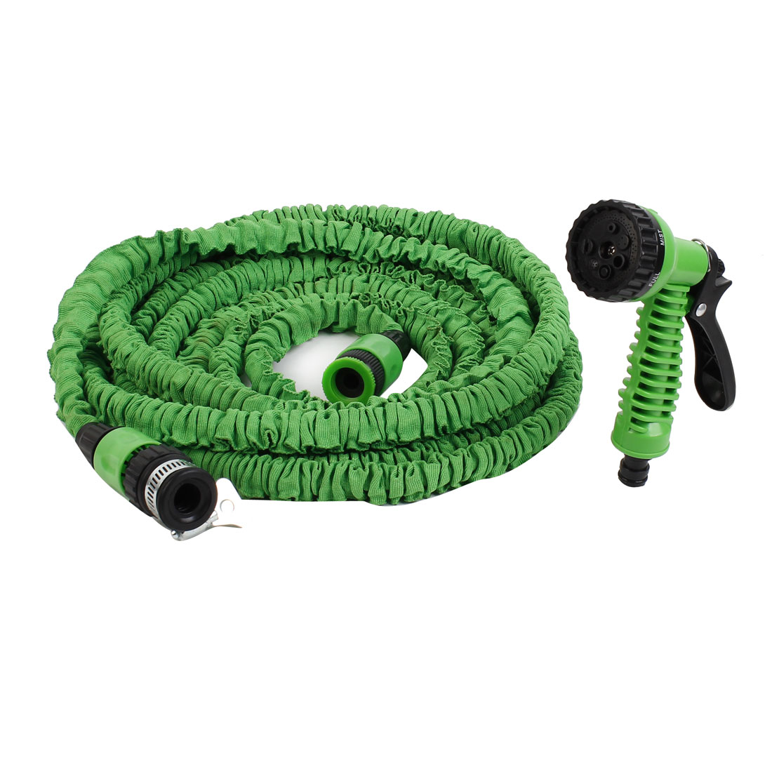 15M 50ft Long Nylon Hose Garden Watering Car Washing Gun Sprayer Green