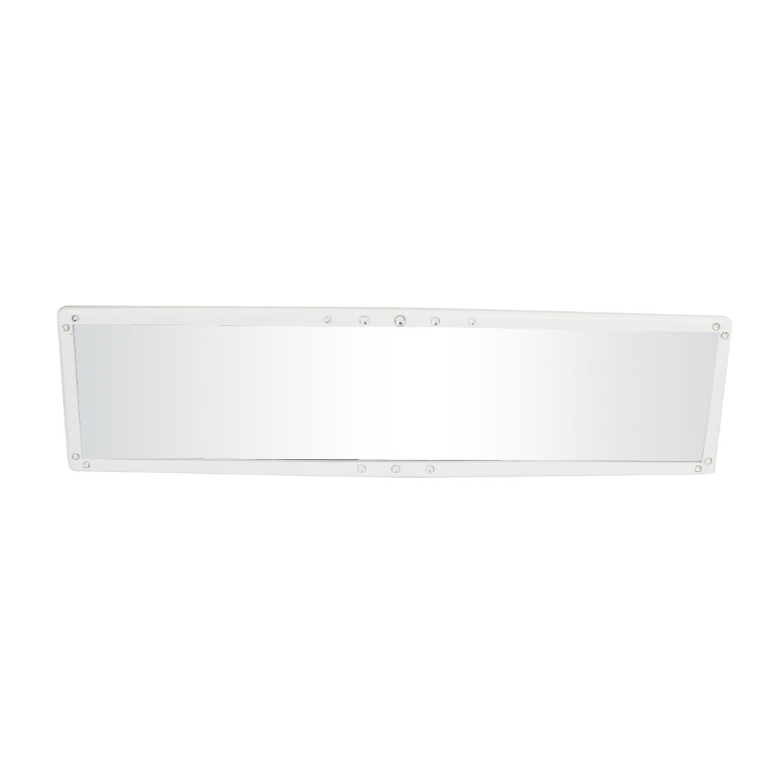 280mm x 60mm White Plastic Frame Clip On Car Interior Rear View Mirror
