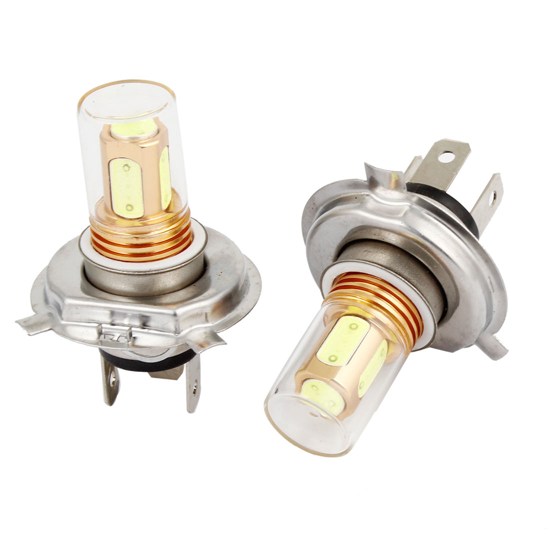2 Pcs Car 5 SMD LED Glass Lens H4 DRL Daytime Driving Light White 7.5W 12V
