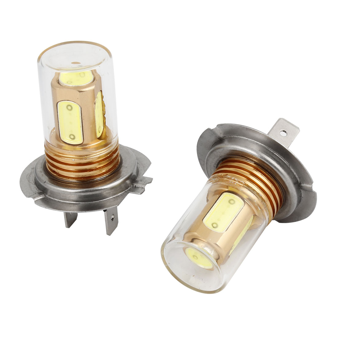 2 Pcs Auto Car H7 Base White 5 LED Foglamp Head Light Bulb Lamp 7W DC 12V