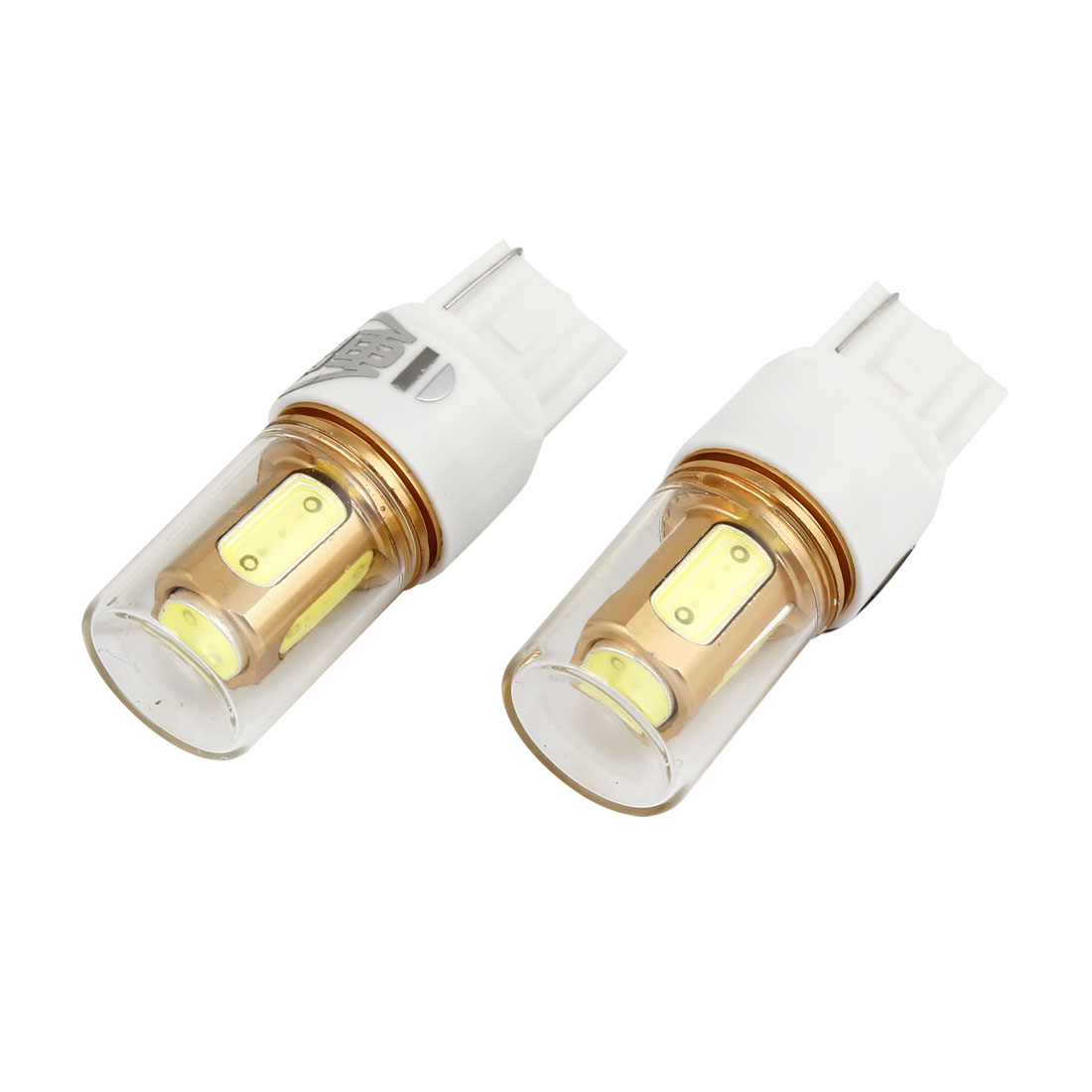 2 Pcs Glass Shell White T20 7440 5 SMD LED Car Turning Backup Tail Signal Light 12V