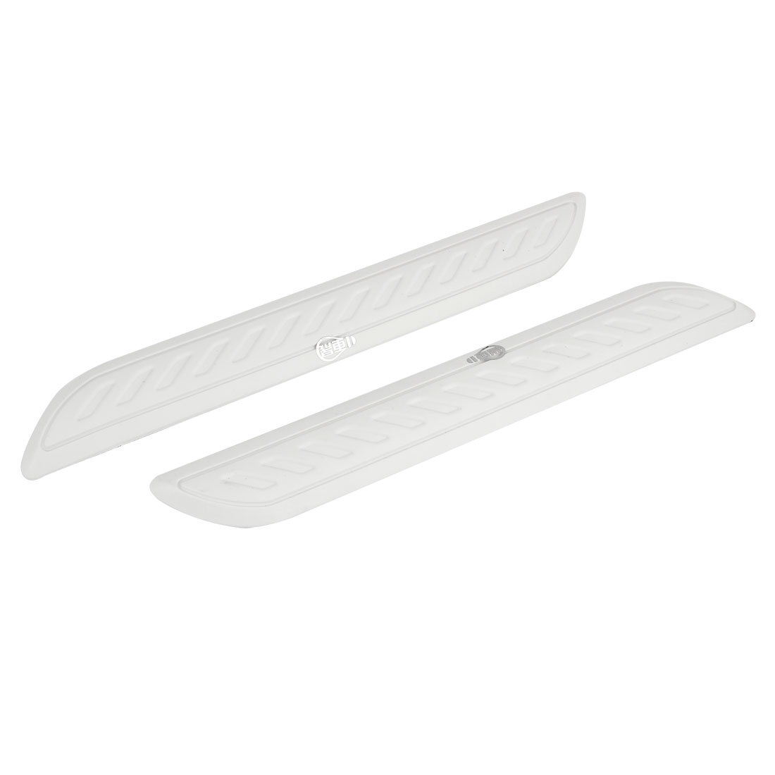 2 Pcs Auto Stripe Decor Plastic Bumper Fender Guard Sticker White