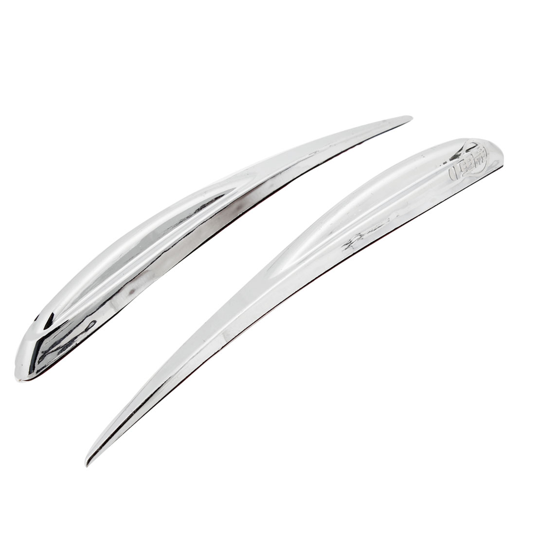 2 Pcs Silver Tone Plastic Adhesive Bank Car Edge Safety Bumper Guard Protector