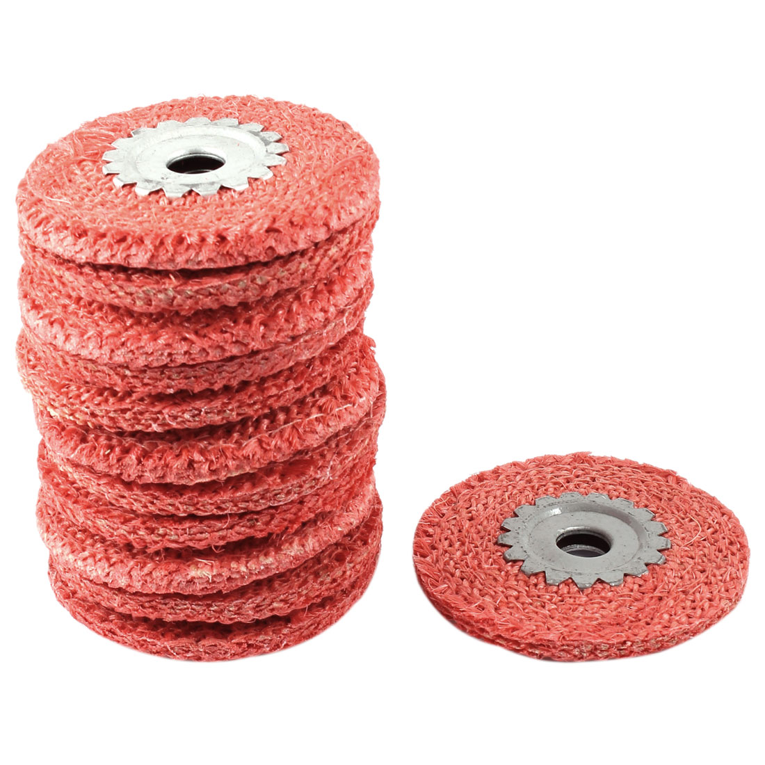 "12 Pcs 4"" Dia Red Rough Hemp Rope Abrasive Flap Disc Polishing Wheel"