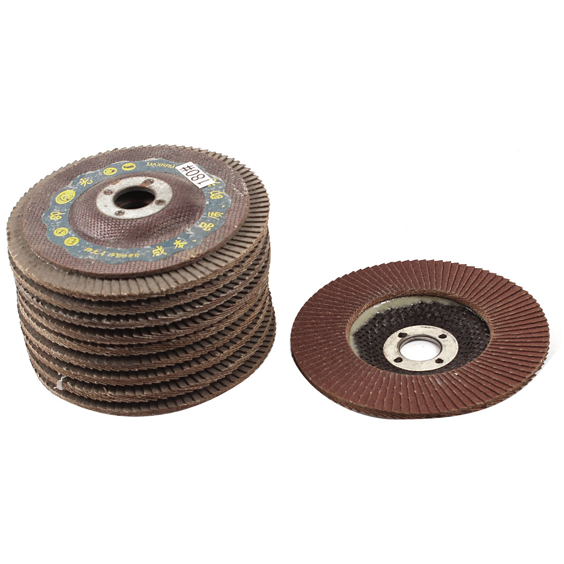 Metal Polishing 100mm Dia 180# Flap Sanding Abrasive Wheels Discs 10Pcs