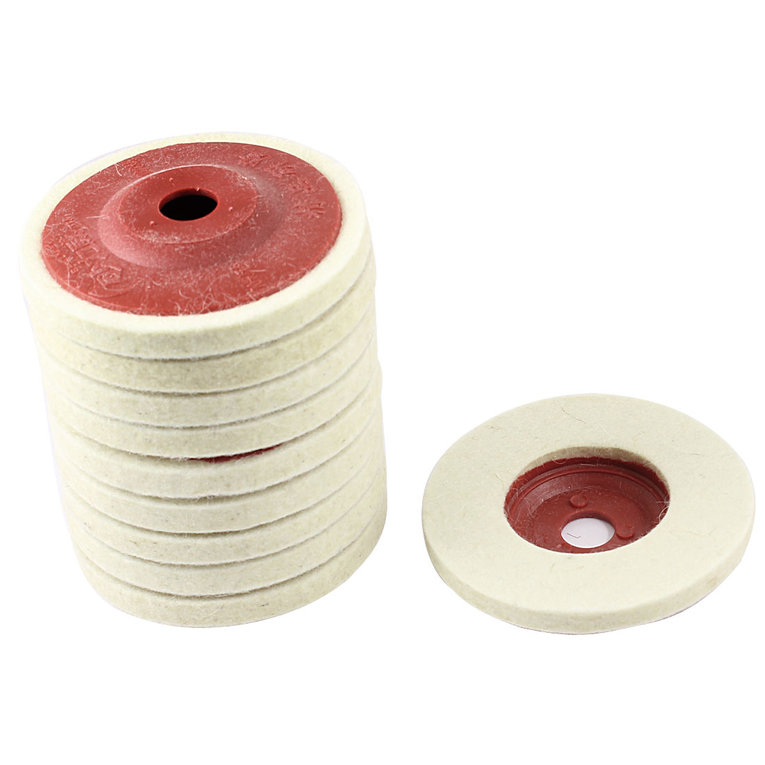 10 Pcs 100mm Outer Dia Metal Polishing Grinding Wheel Sanding Disc Red Beige