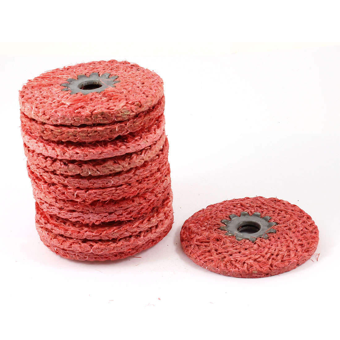 "12 Pcs 4"" Dia 0.3"" Thickness Red Hemp Rope Abrasive Flap Disc Polishing Wheel"