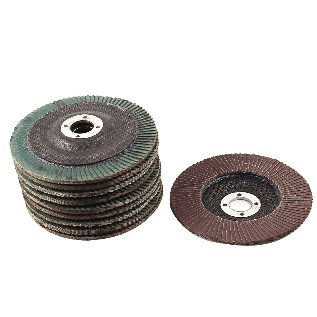 Metal Polishing 100mm Dia 320# Flap Sanding Abrasive Wheels Discs 10Pcs