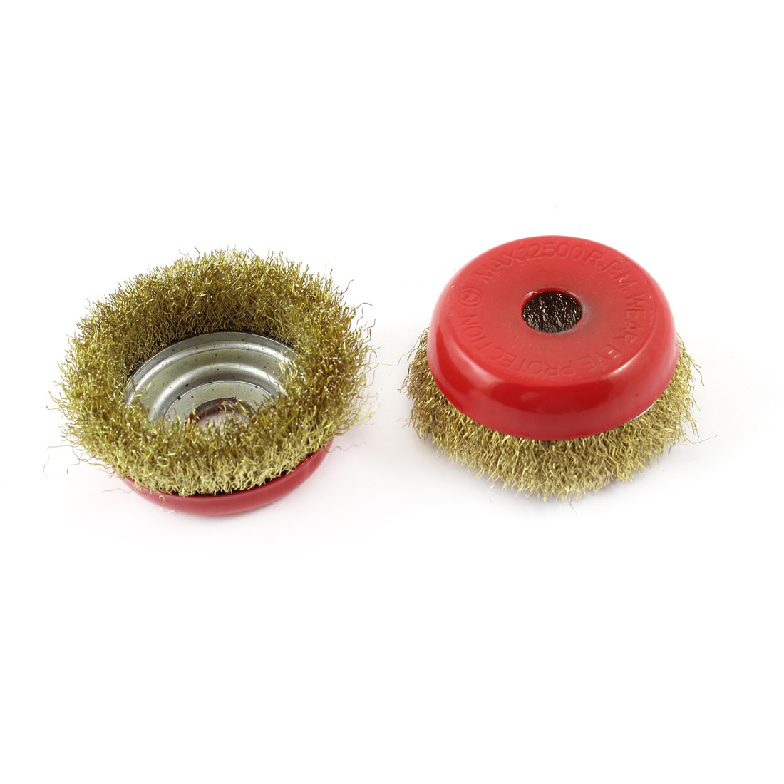 "3.3"" Diameter Steel Wire Polishing Brushes Red Gold Tone 2 Pcs"