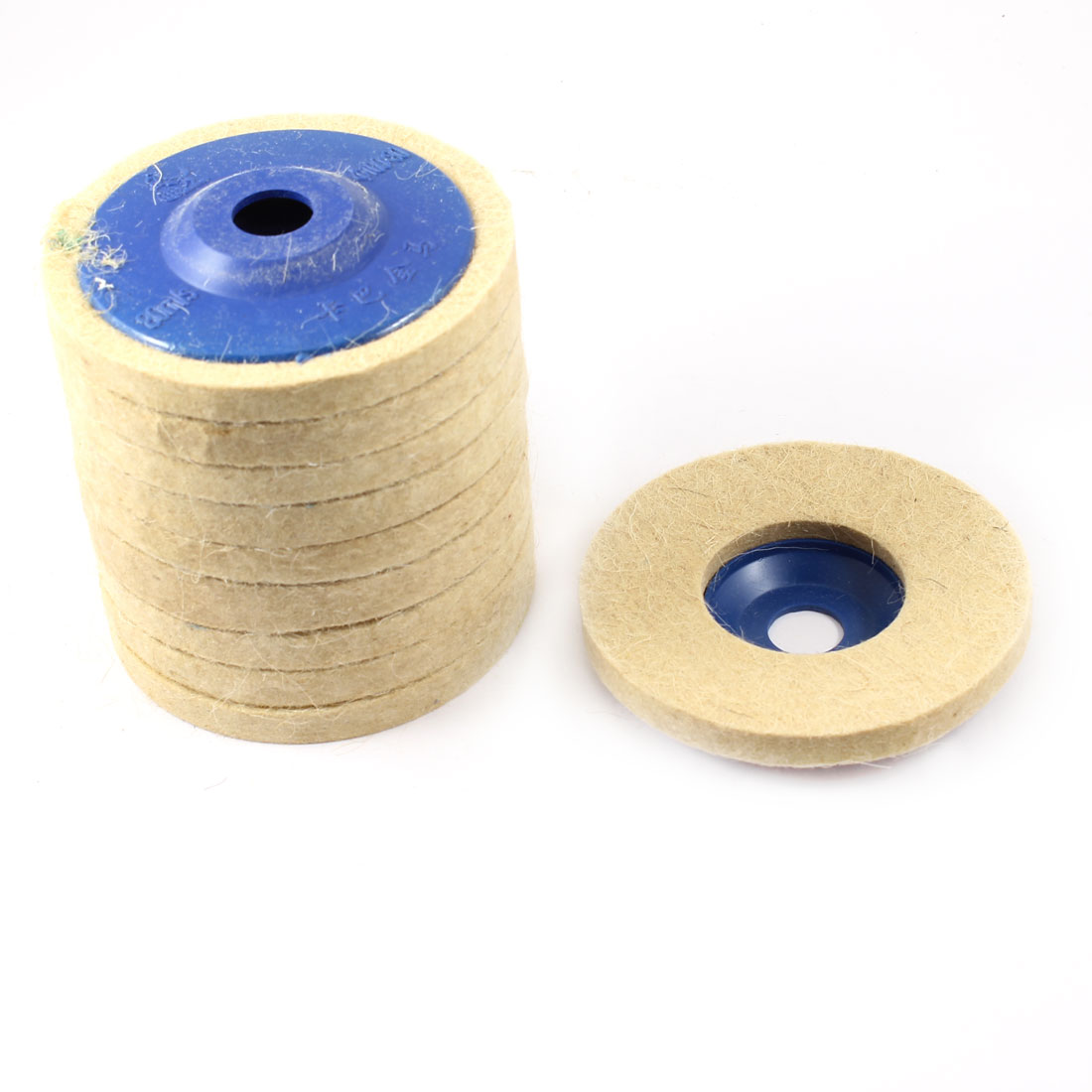 10 Pcs 100mm Outer Dia Wool Felt Polishing Wheel Sanding Disc
