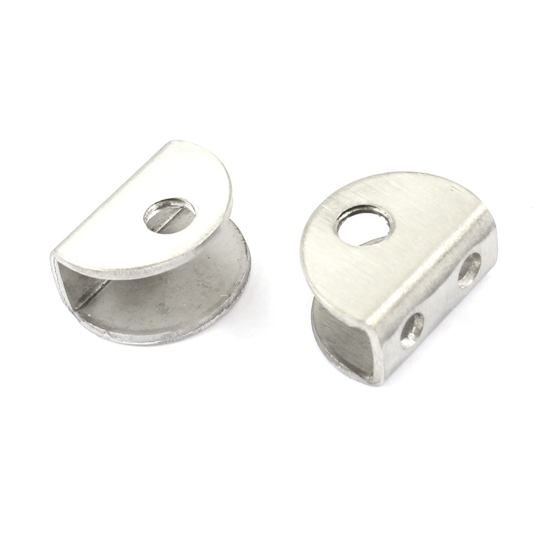 2 Pcs Stainless Steel Half Round Shelf Support Clamp for 8mm Thickness Glass