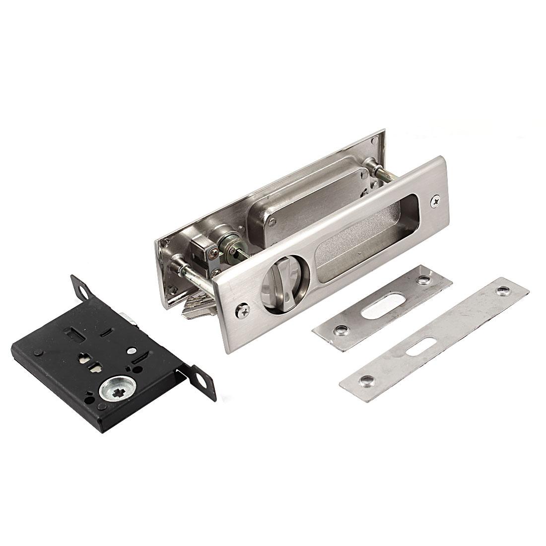 4mm Diameter Mounted Hole Bathroom Door Metal Concealed Handle Lock w Keys