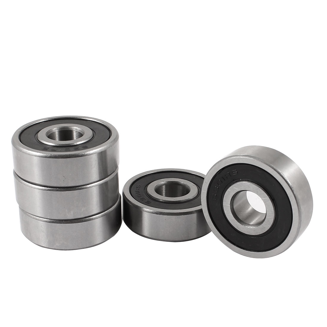 5 Pcs 6301RS 12 x 37 x 12mm Double Shields Deep Groove Ball Wheel Bearing