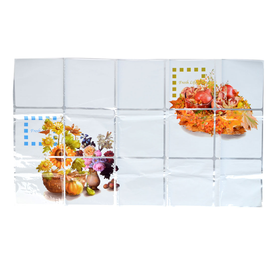 Kitchen Sheet Flower Fruit Pattern Oil Proof Wall Sticker 75cm x 45cm