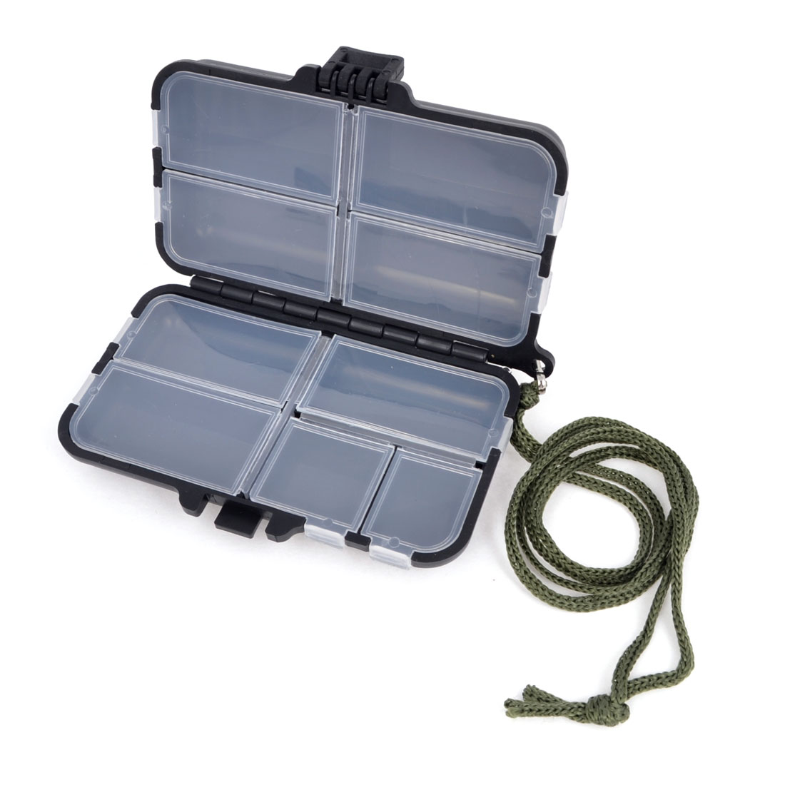 Plastic 9 Slots Fishing Hook Fish Lure Bait Storage Case Holder w Strap