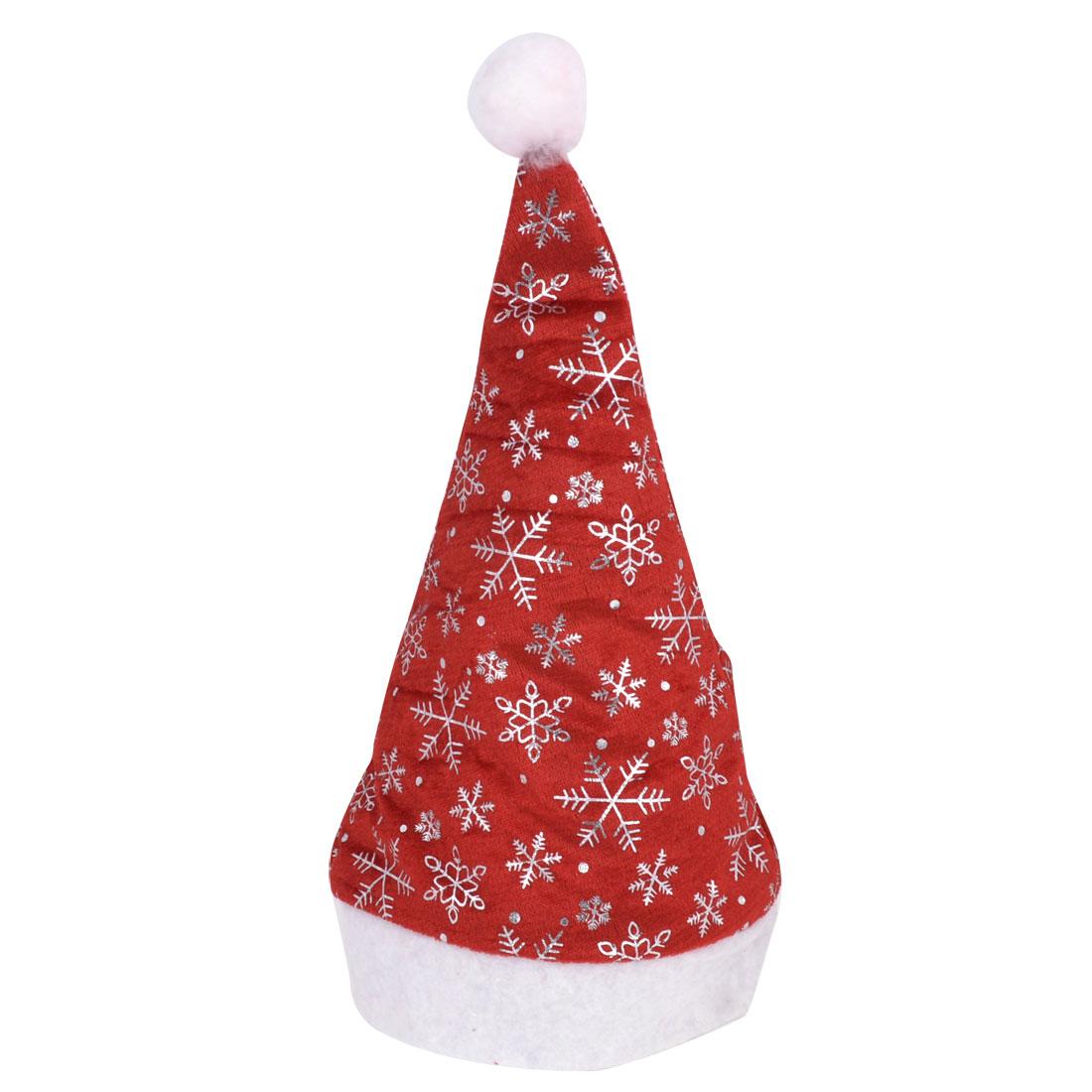 Woman Man Silver Tone Snowflake Pattern Red Velvet Xmas Santa Claus Hat