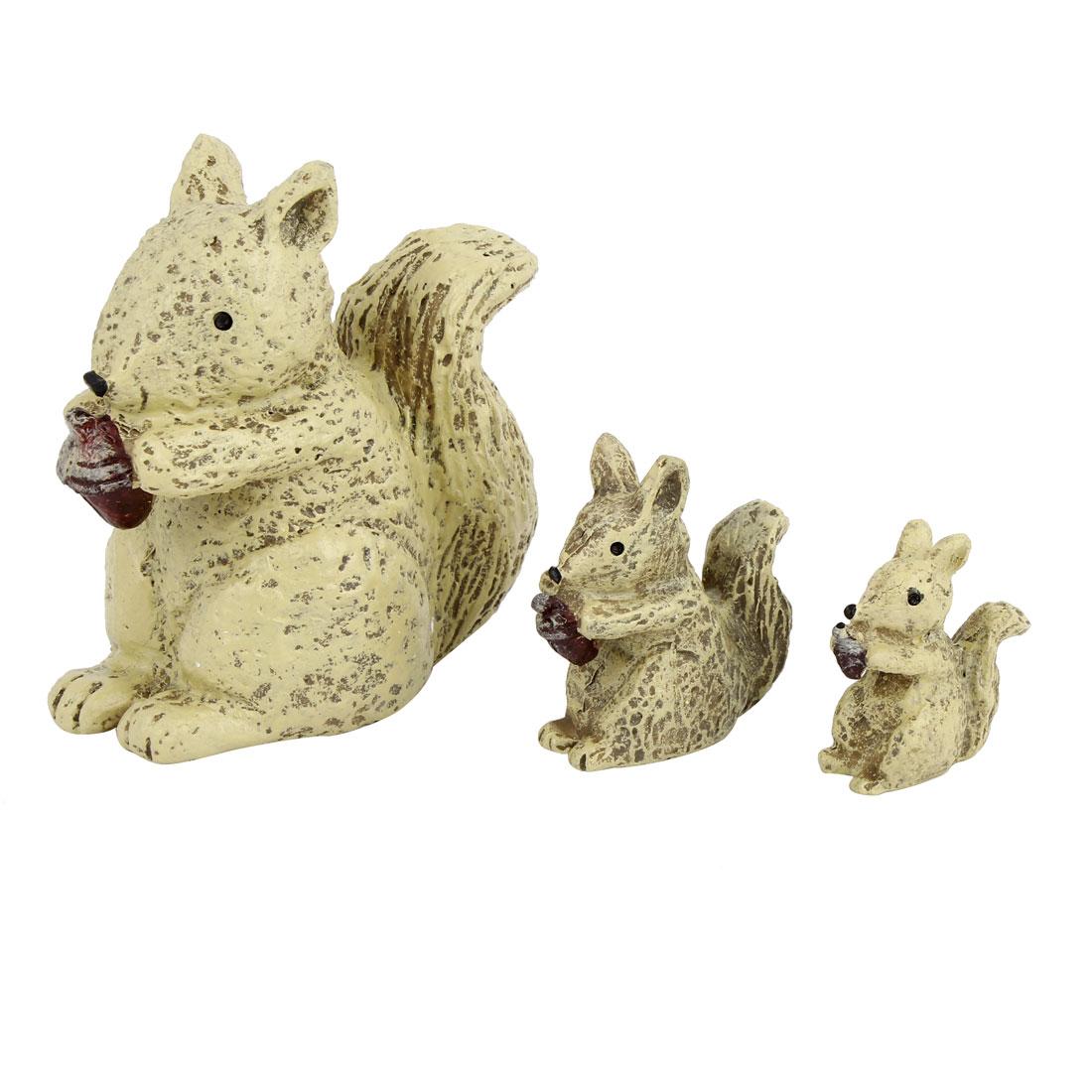 3 in 1 Tabletop Adorn Craft Squirrel Ornament Khaki