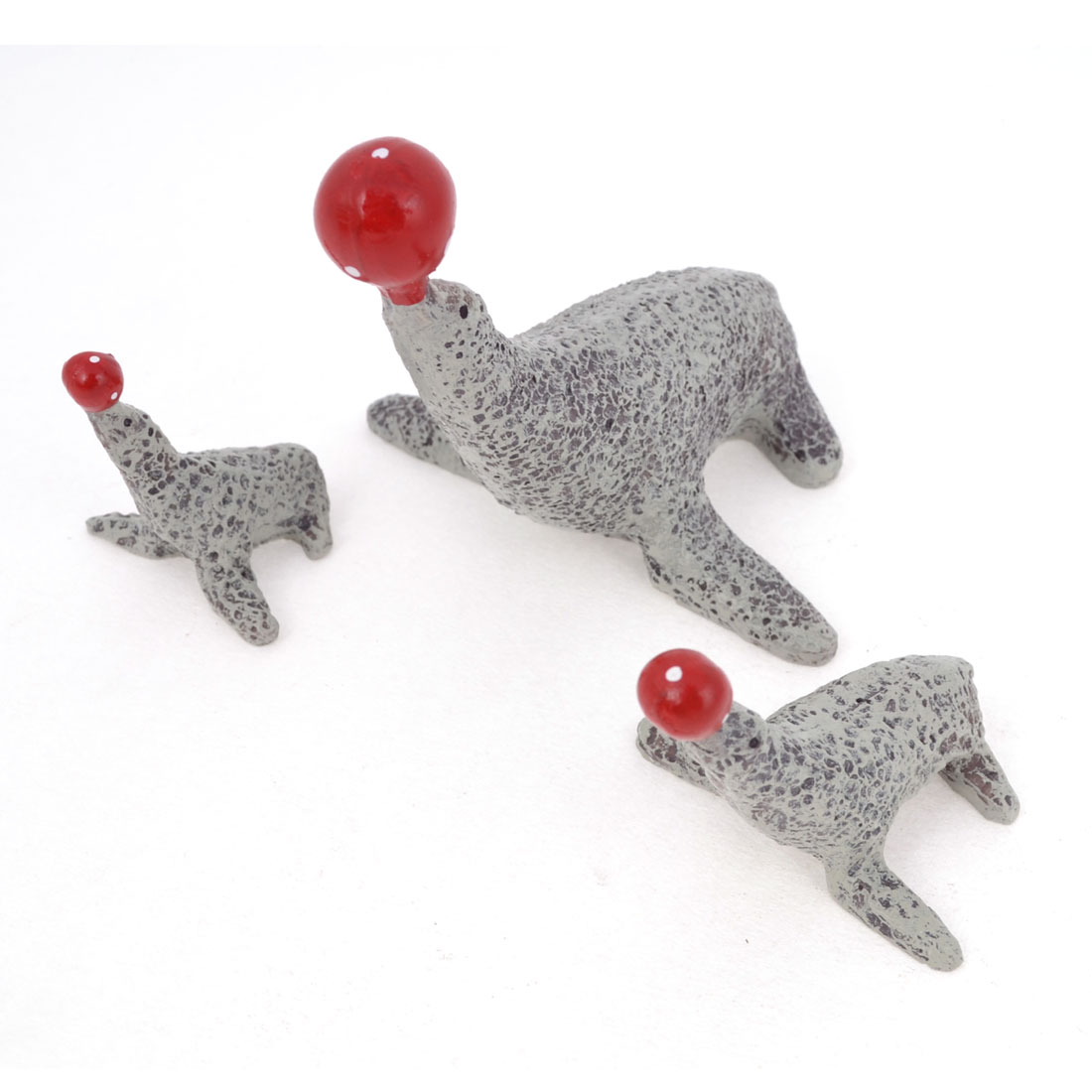 3pcs Red Gray Resin Handicraft Emulational Animal Seal Decor for Home