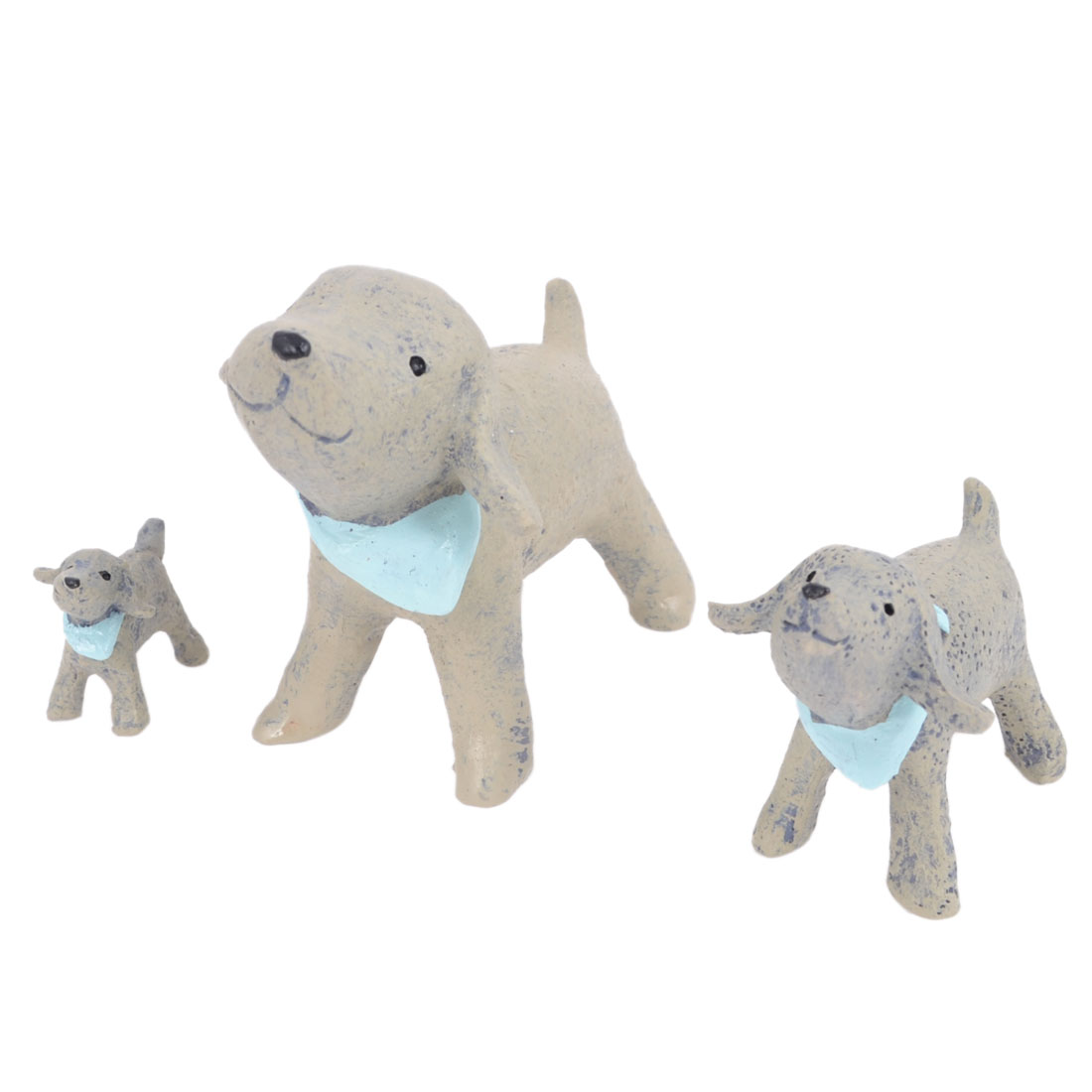 Home Decor Gray Blue Resin Emulational Dress Scaft Dog Handcraft 3 in 1
