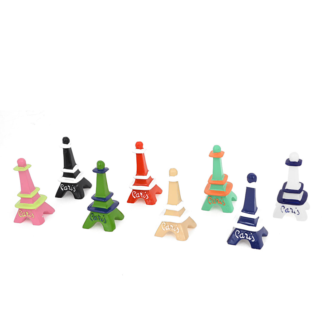Festival Decor Multicolor Resin Handcraft Eiffel Tower 5.7cm High 8 Pieces