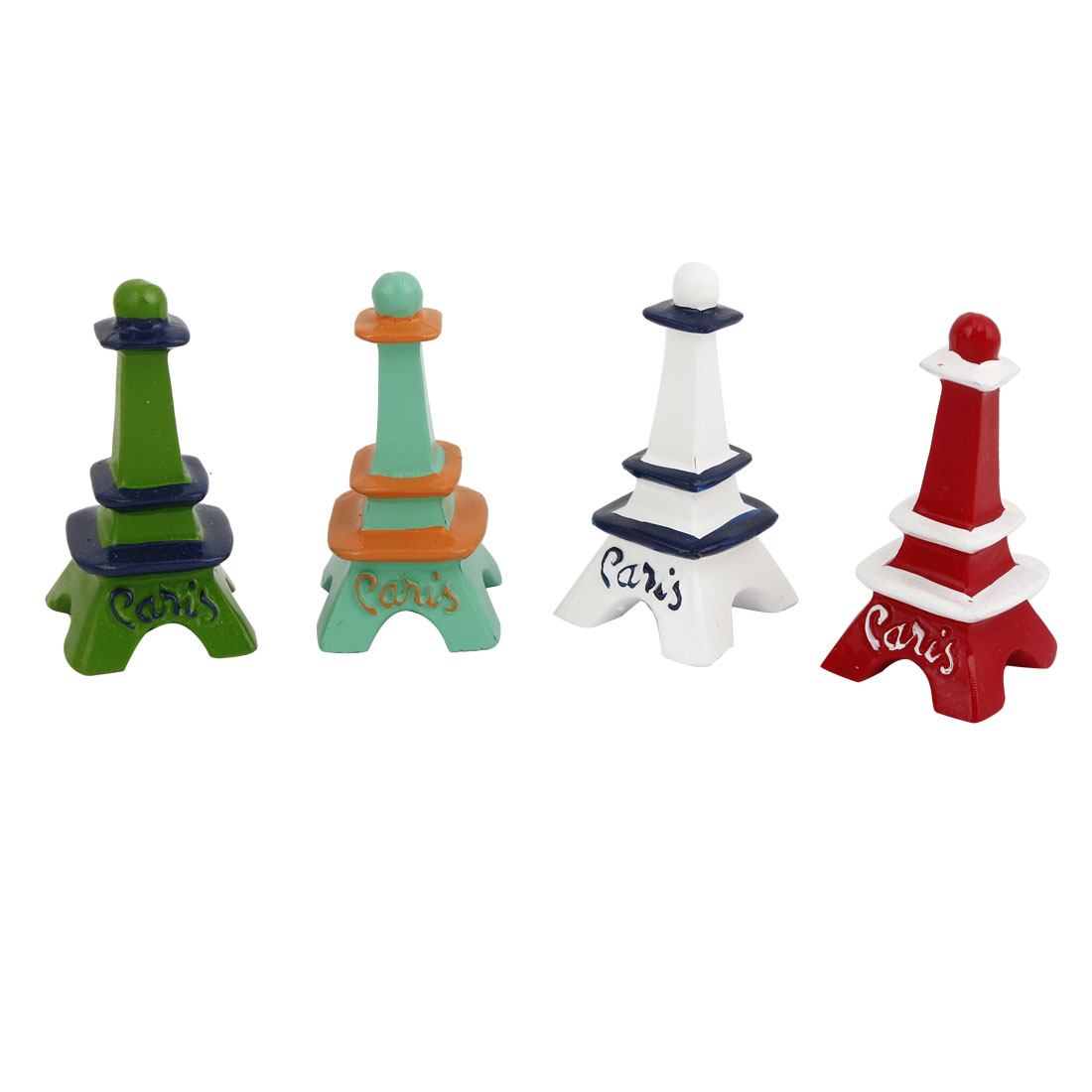 4 Pcs Festival Decor Craft Eiffel Tower Ornament Green Cyan White Red