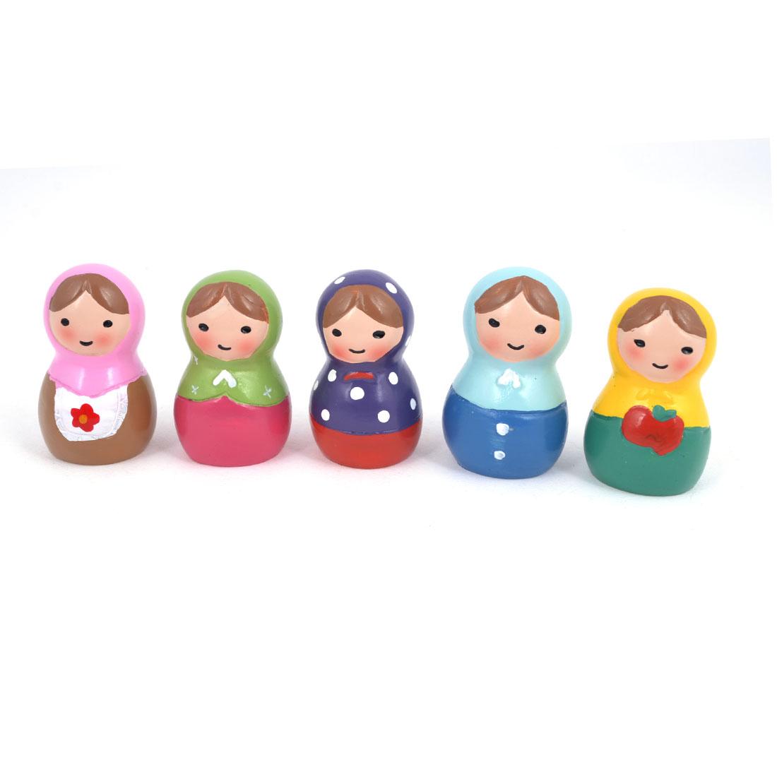 Festival Decoration Colorful Resin Russian Doll Design Model 5.1cm 5 Pcs