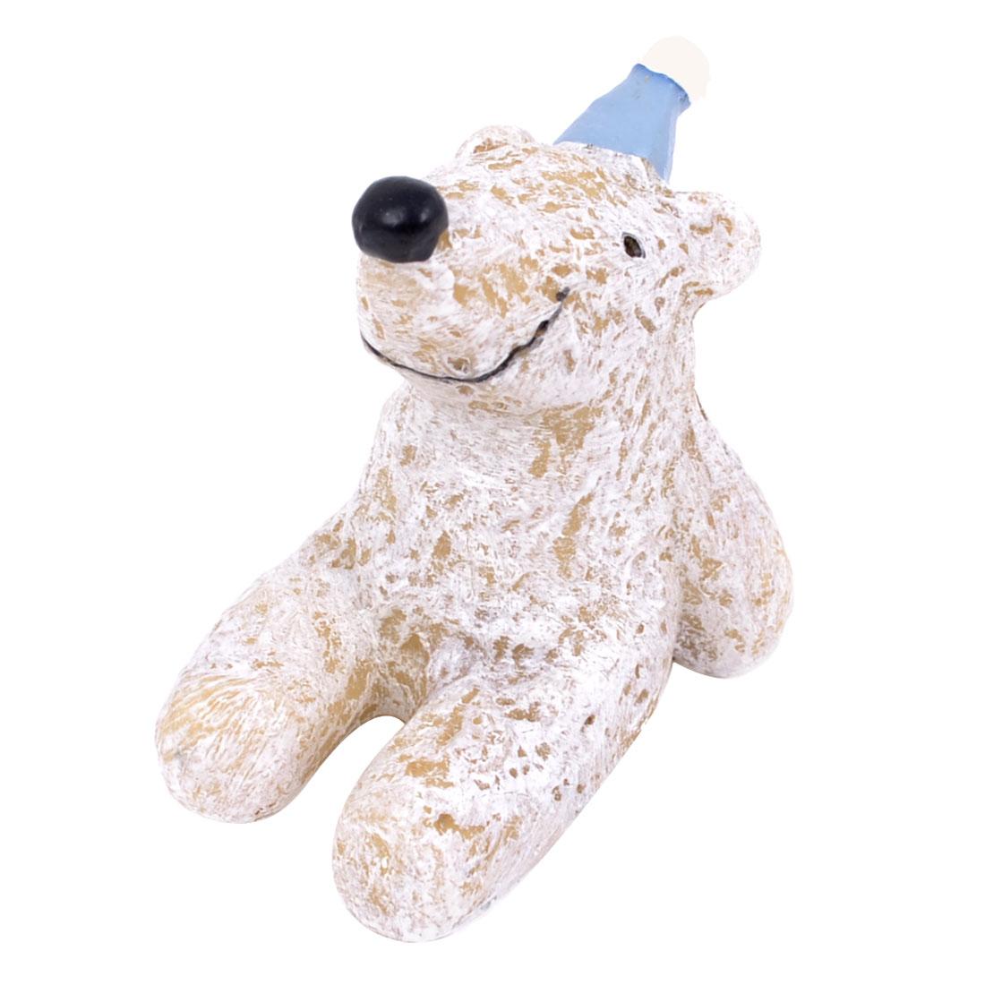 Christmas Tabletop Adorn White Resin Handmade Craft Polar Bear Ornament