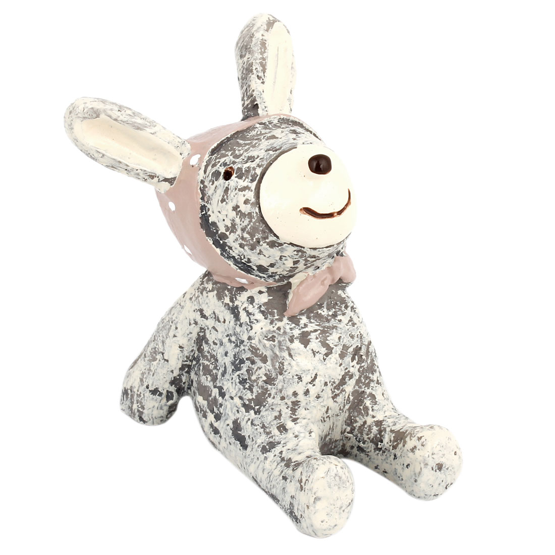 Beige Gray Resin Handicraft Bowknot Accent Rabbit Decoration
