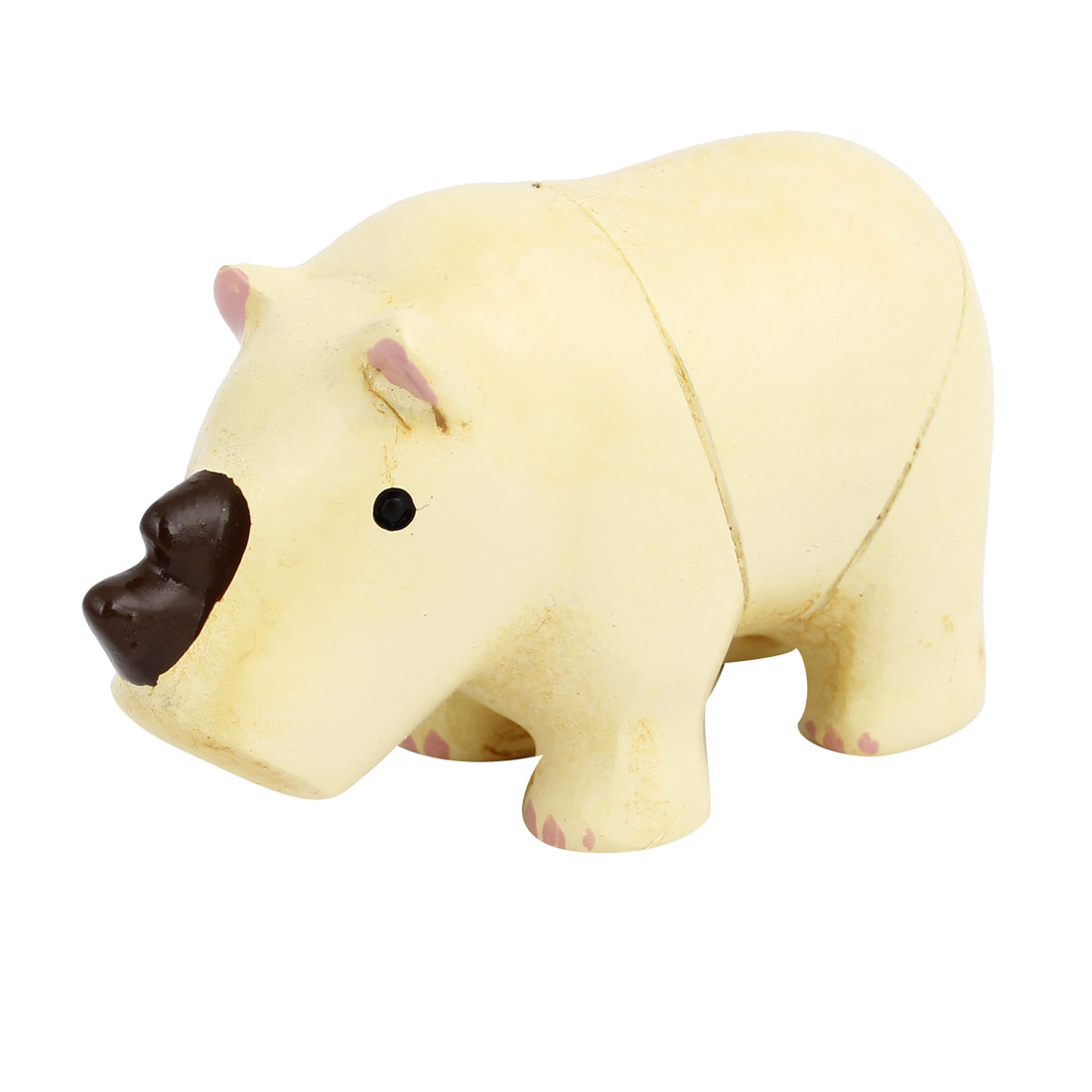 Tabletop Adorn Simulation Rhinoceros Shape Ornament Beige