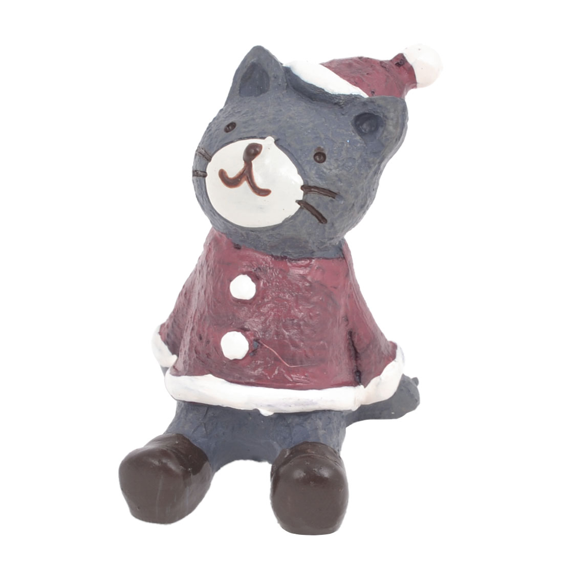 Office Red Gray Resin Handicraft Emulational Sitting Cat Animal Ornament