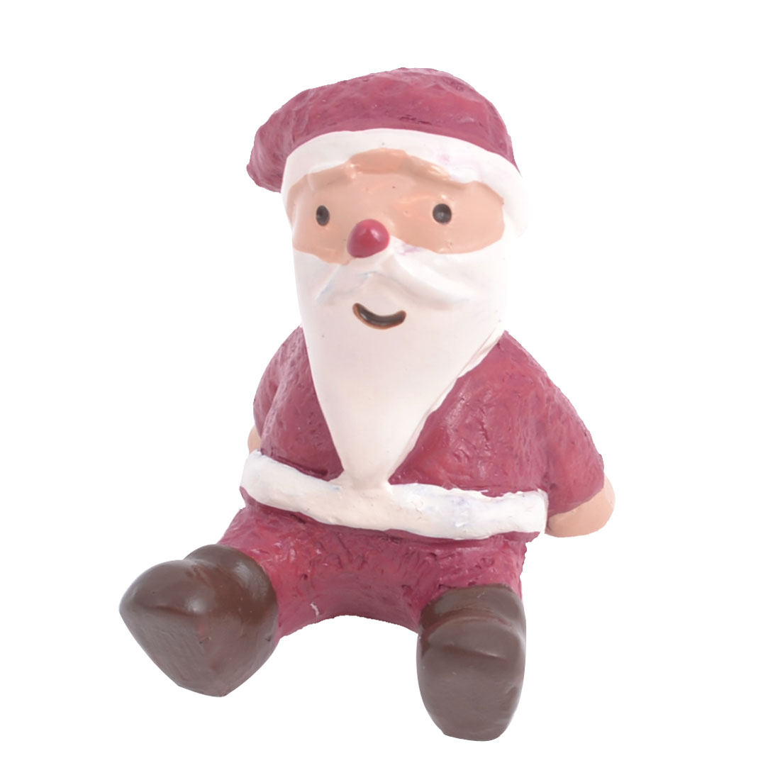 Xmas Tabletop Adorn Red White Resin Handmade Craft Santa Claus Shape Ornament