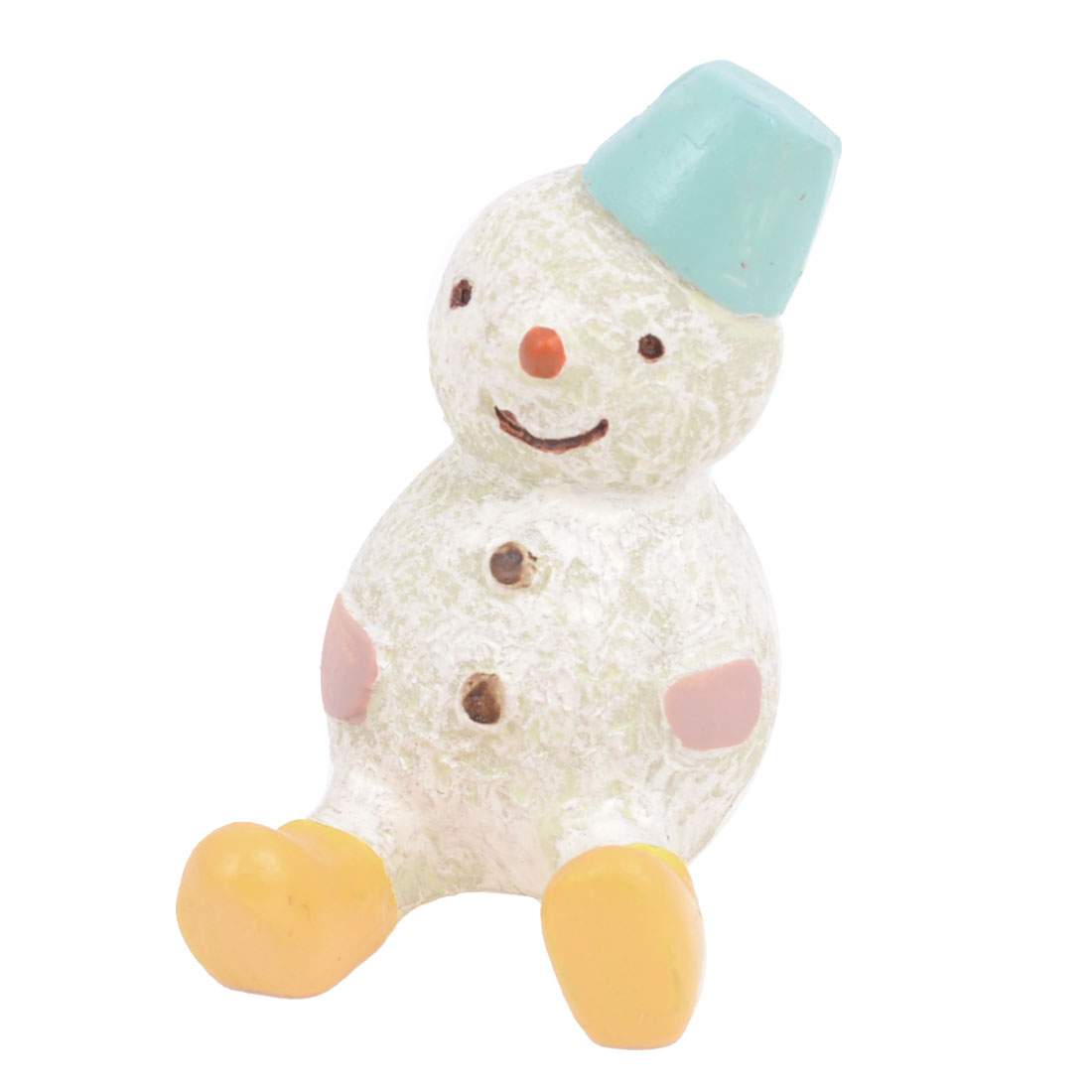House Christmas Decor White Resin Handicraft Hat Dressing Snowman Decoration
