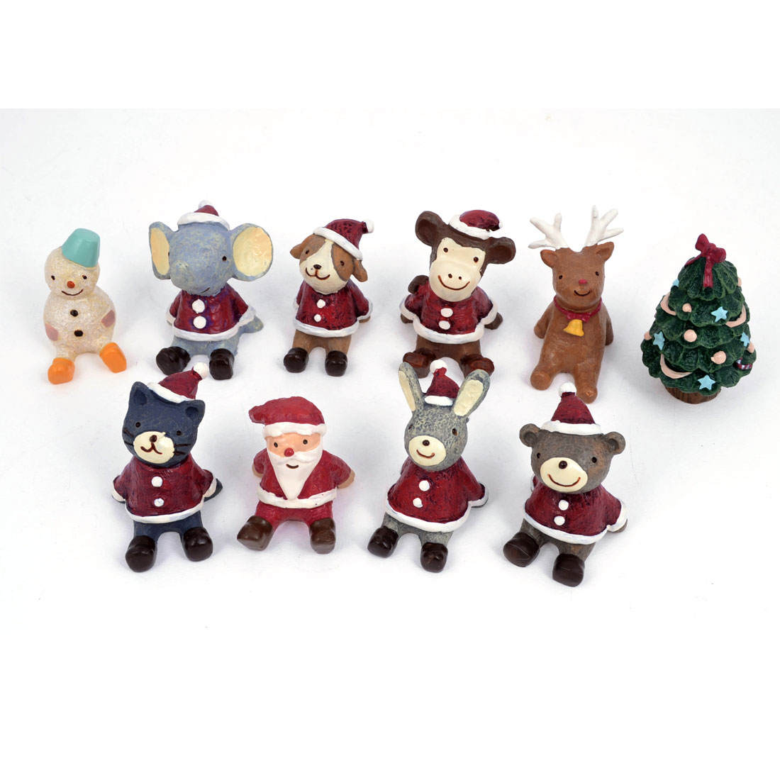 Christmas Accessories Decoration Assorted Color Resin Handcraft Set 10 Pcs