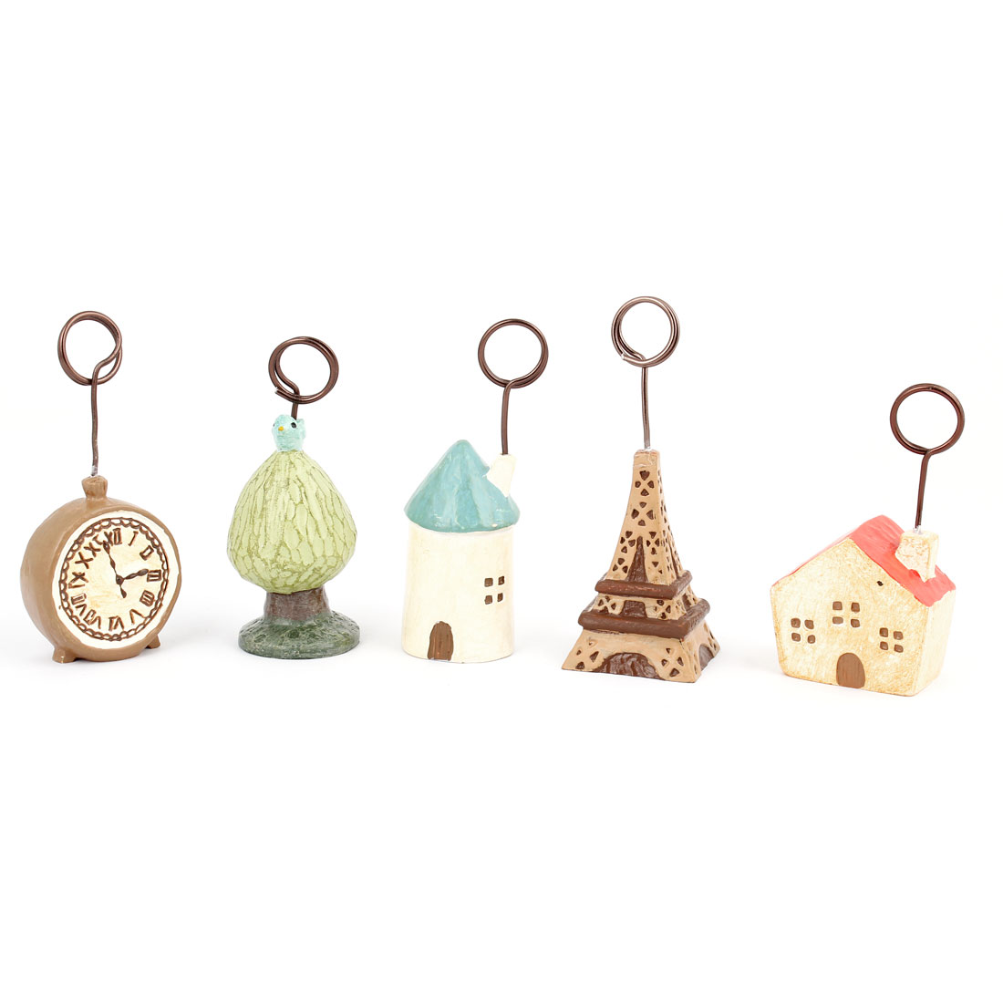 5 Pcs House Clock Tree Tower Shaped Photo Memo Clip Stand Card Display Holder