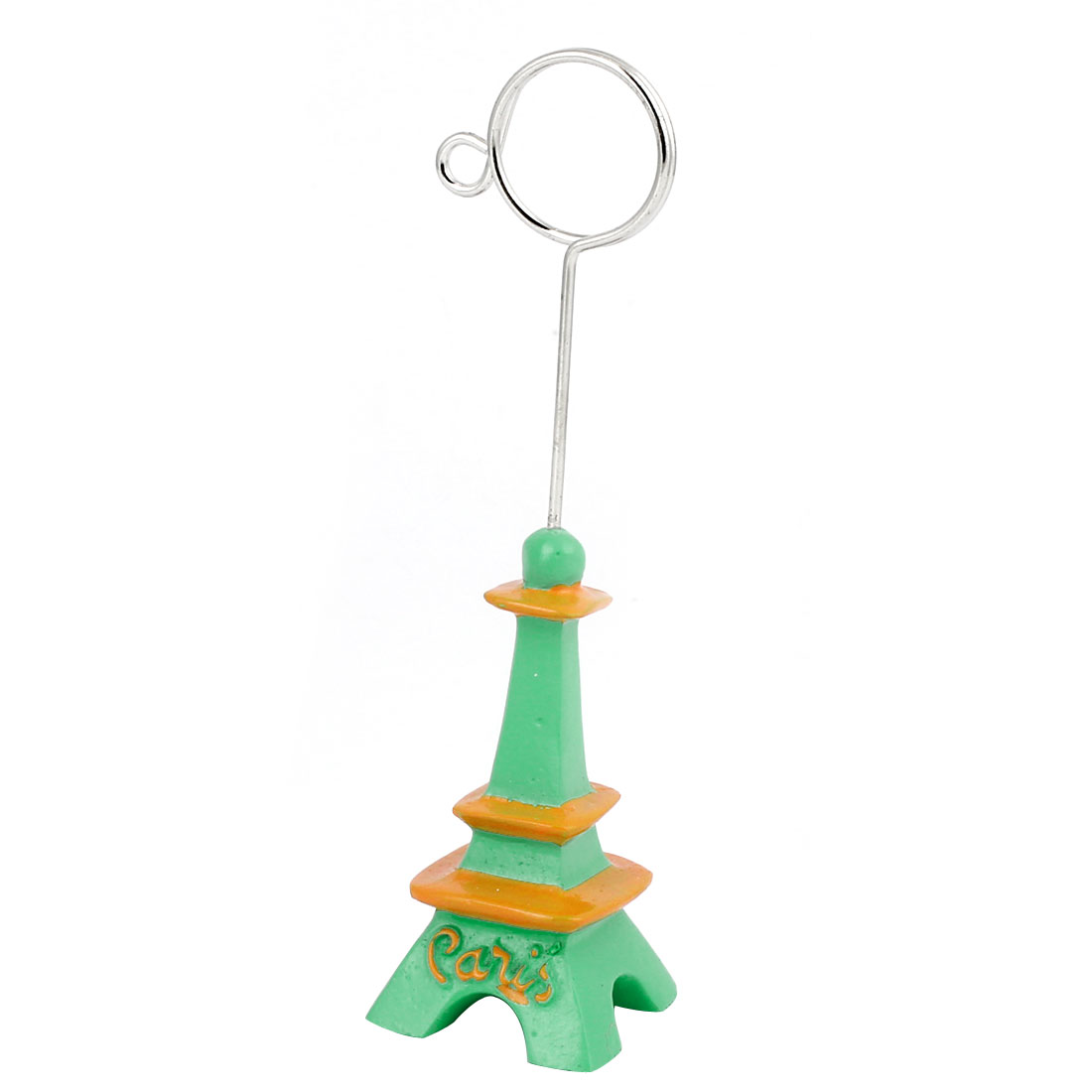 Green Orange Eiffel Tower Shape Photo Memo Clip Stand Card Display Holder