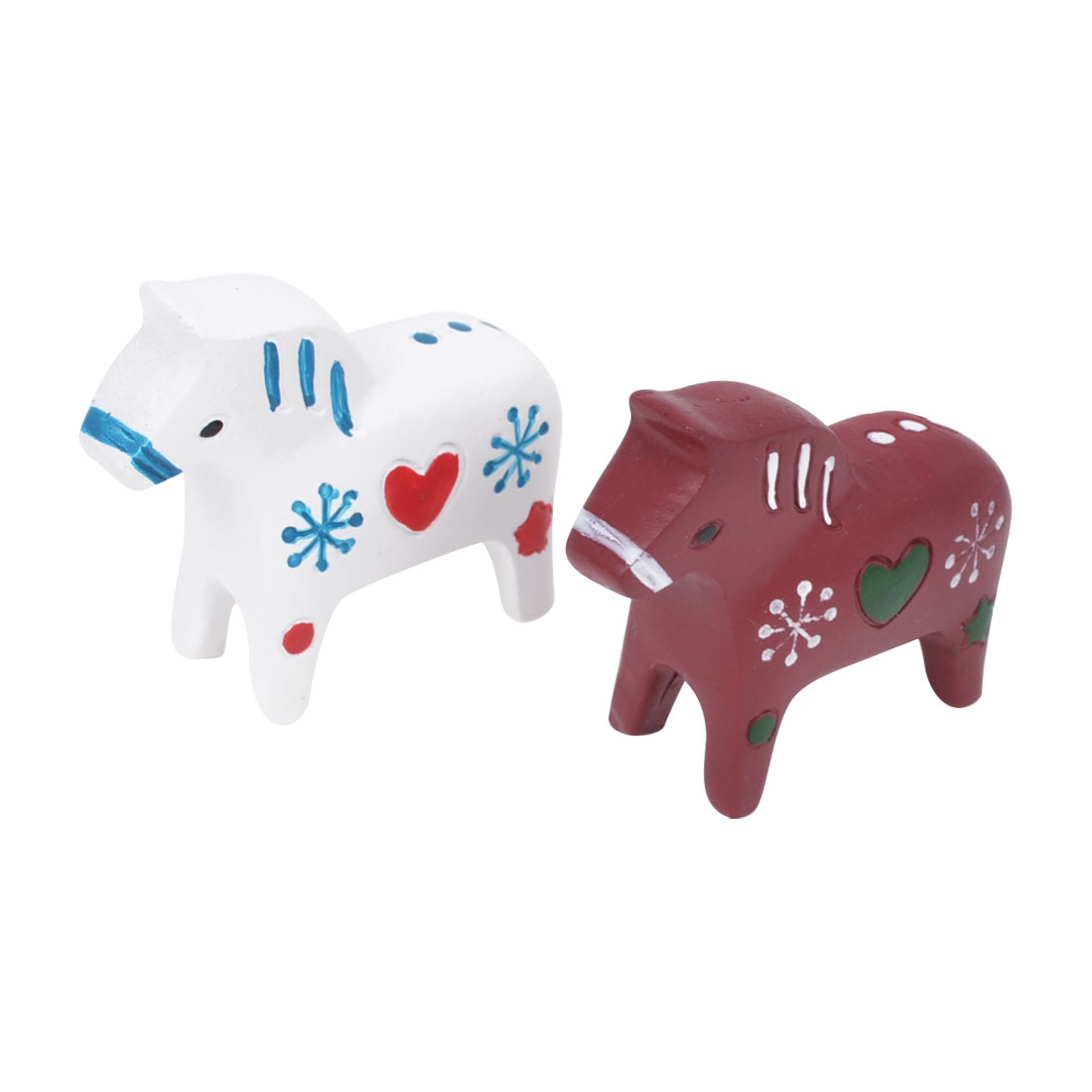 Christmas Adornment Burgundy White Resin Heart Crafts Horse Ornament 2 Pcs