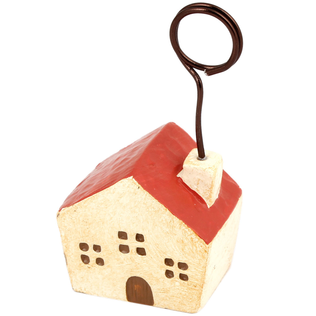 Beige Red House Shape Photo Memo Clip Stand Card Display Holder
