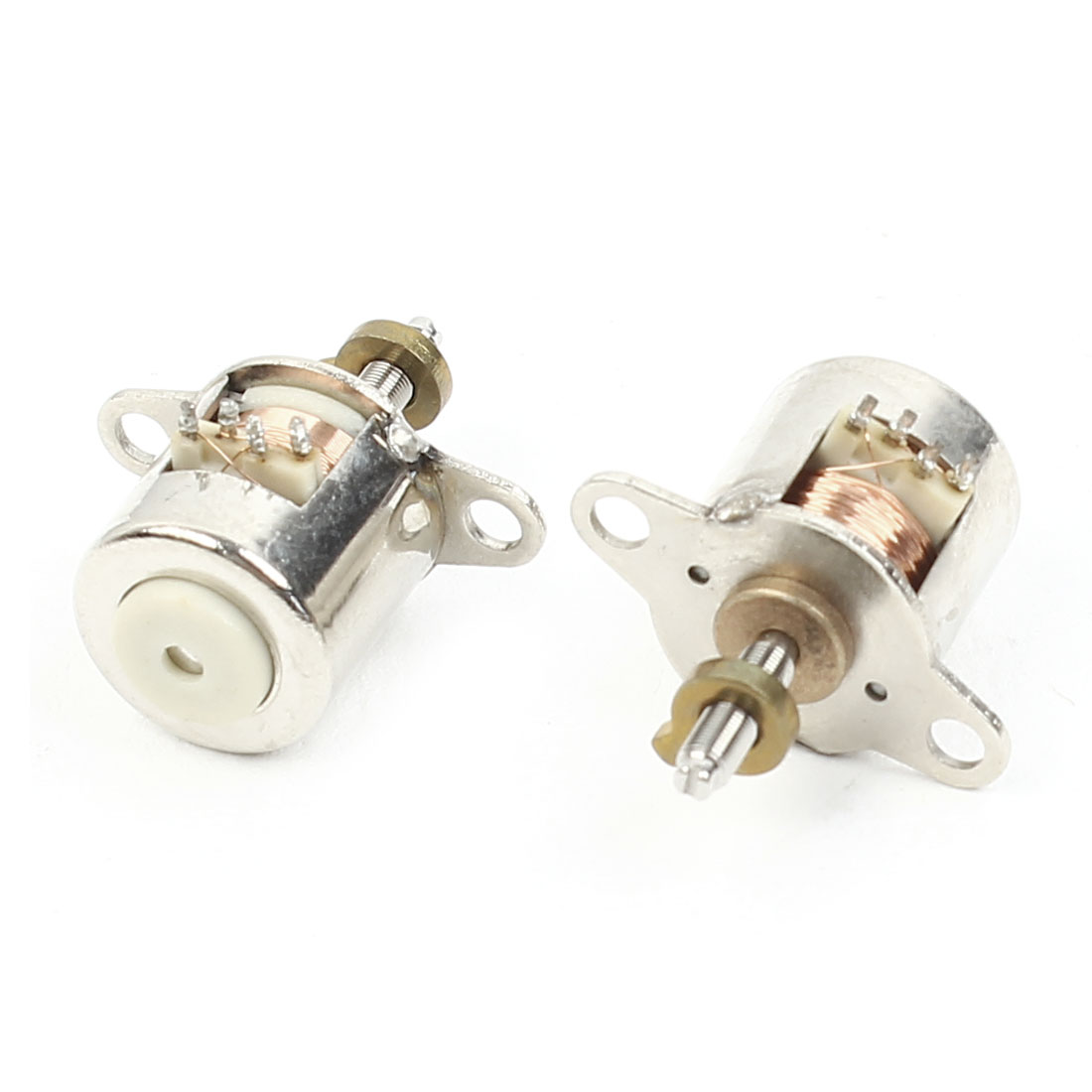 2pcs 20mm Height 8mmx2mm Shaft 10mm Diameter Stepper Motor Silver Tone