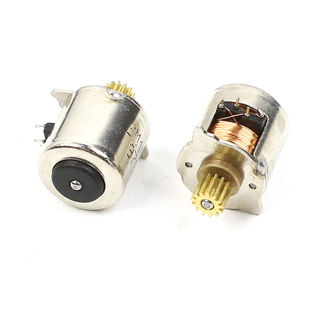 2pcs Brass Gear Silver Tone 10mm Diameter 2 Phase 4 Wire Stepper Motor