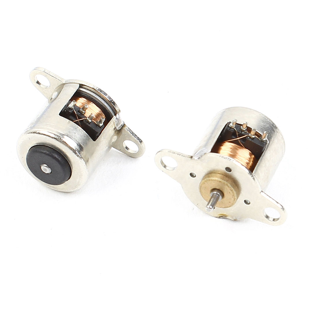 2pcs 15mm Height 3mmx1mm Shaft 10mm Diameter Stepper Motor Silver Tone