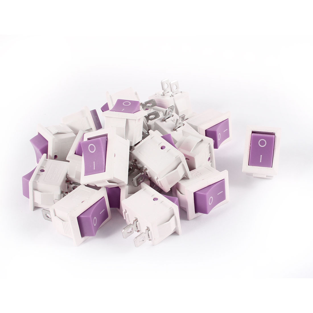 20 Pcs KCD1 AC 250V 6A 125V 10A 2Pin SPST Power ON/OFF Panel Mount Rocker Switch Purple White
